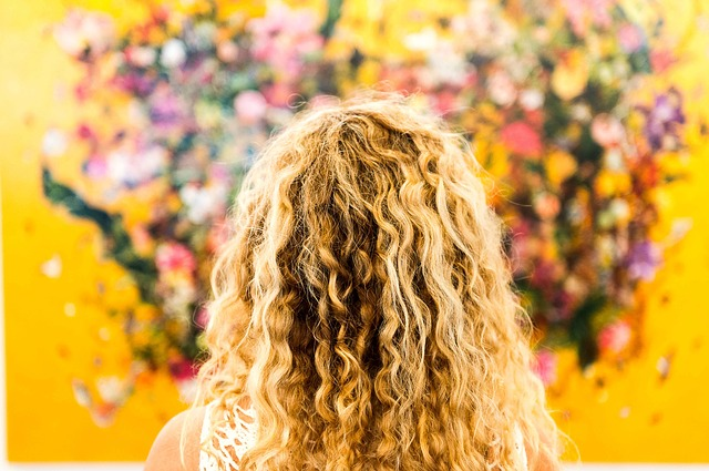 blonde curly hair